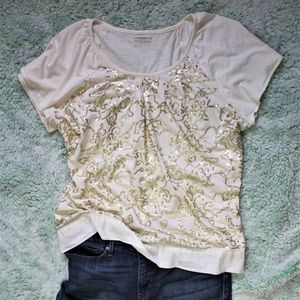 Charter Club Woman White T-Shirt with Gold Sequins